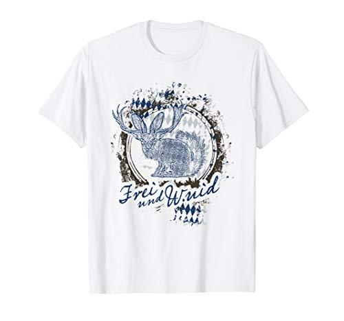 Cooles T-Shirt fürs Oktoberfest Frei und Wuid Wolpertinger
