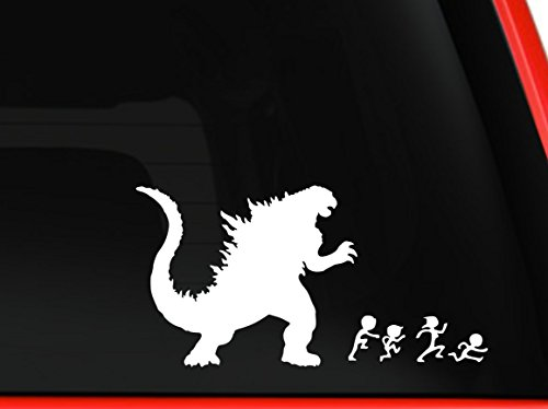 Godzilla Chasing the Stick Family Car SUV Truck Vinyl Decal Graphic Grunge Art Wall Sticker Car USA (white, 8