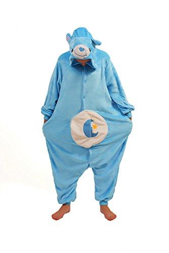 die glücksbärchis Care Bears onesiee Kigurumi Pyjama Karneval Kostüm Maskenkostüm Kapuzenpulli Schlafanzüge Bedtime Bear, XL(Height 180cm-190cm)