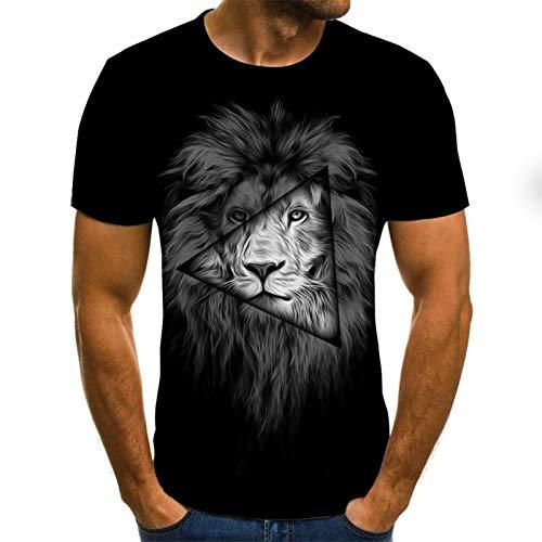 SSBZYES Camisetas De Talla Grande para Hombre Camisetas De Manga Corta para Hombre Camisas De Talla Grande para Hombre Camisetas Estampadas De Moda para Hombre Camisetas con Estampado De León para