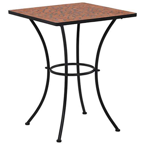 Volkcam Terrakotta 60 cm Keramik Mosaik Kaffeetische Balkontisch Gartentisch Bistrotisch Beistelltisch Balkonset Bistroset, Stabil Mosaikmöbel Mittelmeer Marokko Tisch für Balkon Garten Terasse