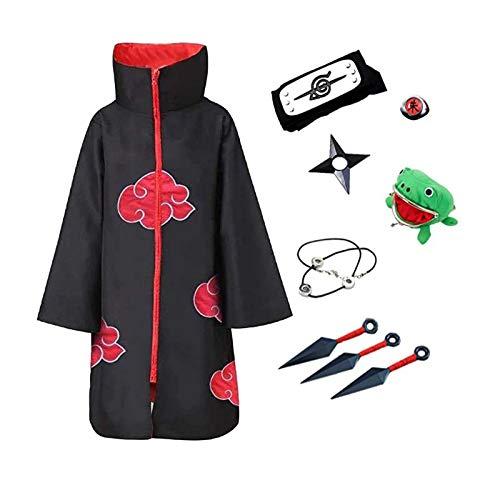 Deciduous Anime Charakter Akatsuki Cosplay Kostüm Unisex Long Black Robe Zubehör Halloween Uniform Mantel Für Erwachsene Männer Frauen Party Carnival Outfits,L