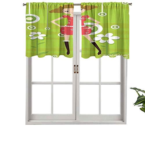 Hiiiman Cenefa corta recta, diseño de Taurus de moda joven de pie sobre fondo floral verde, juego de 1, 137 x 45 cm para ventanas de cocina