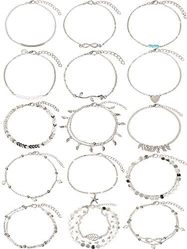15 Pieces Boho Anklets Chains Bracelets Adjustable Beach Anklet Foot Jewelry Set for Women Girls (Silver)