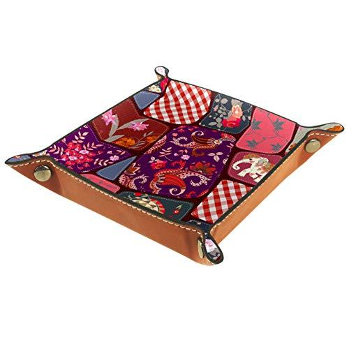 AITAI Valet Tablett aus veganem Leder, Nachttisch-Organizer, Schreibtisch-Aufbewahrung-Teller, Catchall, ethnisches Patchwork, Elefanten-Blumenmuster