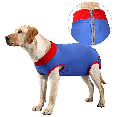 Recuperación de perro traje quirúrgico Camisa de recuperación para, cuello en forma de cono alternativo para mascotas traje quirúrgico postoperatorio heridas abdominales para evitar lamer(Azul