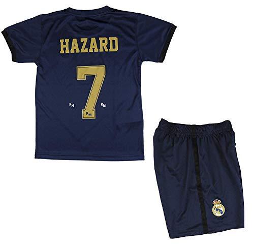 Real Madrid Conjunto Camiseta y Pantalón Segunda Equipación Infantil Hazard Producto Oficial Licenciado Temporada 2019-2020 Color Blanco (Azul Marino, Talla 8)