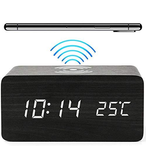 Despertador Digital LED con 10W Cargador Inalambrico, Reloj Digital Sobremesa con Funciones Ajuste Brillo y Control Audio, Despertadores Digitales con 2 Modos Visualización