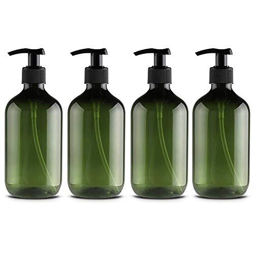 Ailyoo 4 Piezas 500 ml Botellas dispensadoras de jabón Bombas rellenables para dispensar lociones Champús/Botellas de plástico Dispensador de jabón Loción vacía Bomba de líquido Botella