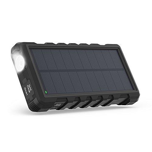 RAVPower Solar oplader QC 3.0 25000 mAh powerbank outdoor draagbare externe accu met micro-USB en type C-aansluitingen, snel opladen 3 uitgangen, met zaklamp, stofstoot- en waterdicht