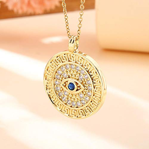 Vintage Stainless Steel Chain Copper Gold Plated Demon Eye Pendant Necklace For Women Charm Jewelry