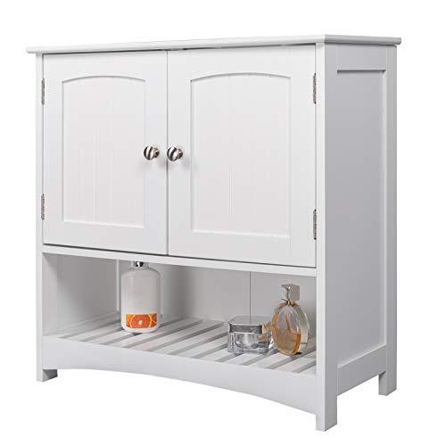 eSituro Mueble Bajo Lavabo Armario de Suelo para Baño Mueble de Baño Organizador 2 Puertas, MDF Blanco 60x30x60cm SBP0022