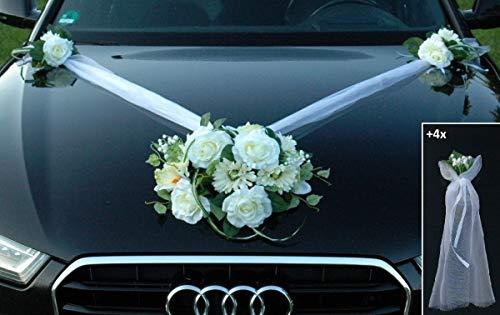 Autoschmuck Spitze STRAUß Auto Schmuck Braut Paar Rose Deko Dekoration Hochzeit Car Auto Wedding Deko PKW (SS GER Weiß)