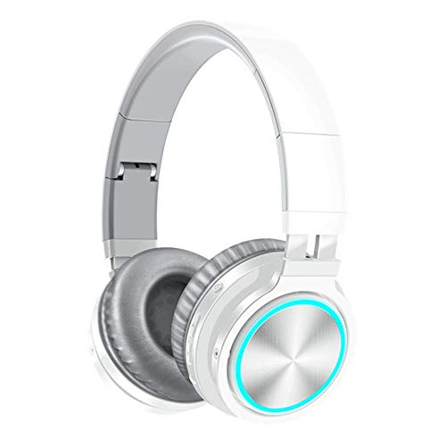 B12 Wireless Bluetooth Headset 5.0 Folding Stereo Gaming Headphones 7 Color LED Light Earphone for PC Laptop Computer,White