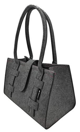 Tebewo Handtasche,Shopping-Bag aus Filz, verschließbare Einkaufs-Tasche mit Henkel, Einkaufskorb, Faltbare, vielseitige Tragetasche (Dunkelgrau)