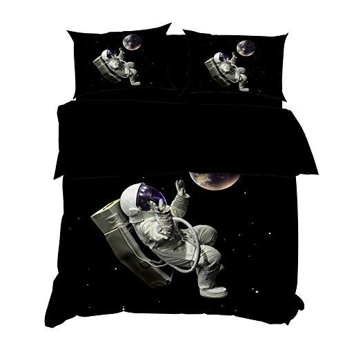 AYMAING Bettbezug Set 3D Galaxy Sternenhimmel Universum Mond Duvet Quilt Und Kissenbezug 135x200cm für Kinder, Jungen, Mädchen Bettwäsche-Set
