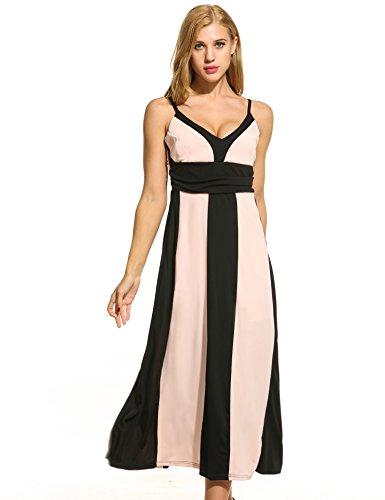 ACEVOG Women Flowy Chiffon Maxi Dress Solid Slimming Evening Cocktail Party Dress