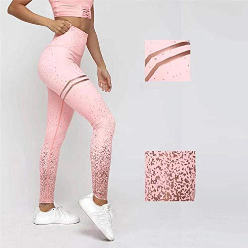 HPPLWomen Lovertjes Yoga Taille Fitness Leggings Glitter Running Gym Rekbare Sportbroek Broeken, Wit, L