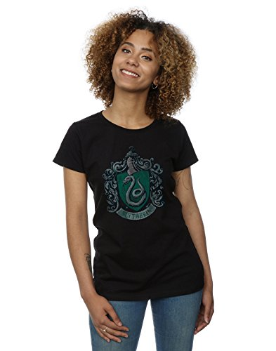 HARRY POTTER Mujer Slytherin Distressed Crest Camiseta Small Negro
