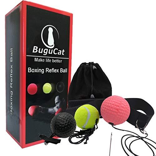 BuguCat Pelota Boxeo, Fight Ball Reflex en Cadena con Diadema para Fight MMA Training Reacciones de Velocidad Adulto Niños Mejorar Punch Focus Deporte Ejercicio Practice