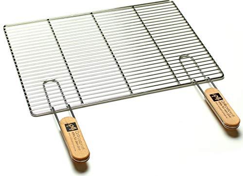 Edelstahl-Grillrost mit abnehmbaren Handgriffen 60 x 40 cm