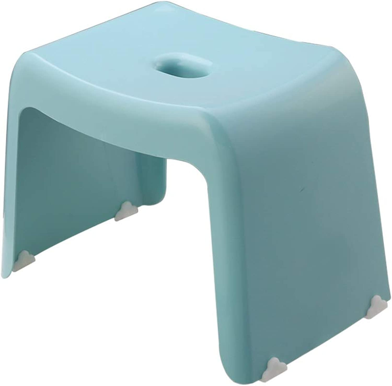 Plastic Stack Stool, Sturdy Comfortable Small Stool Change shoes Bench Bath Stool Old Man Stool Antislip Stool Easy To Store Stool (color   bluee, Size   37.5  24.5  26.5CM)