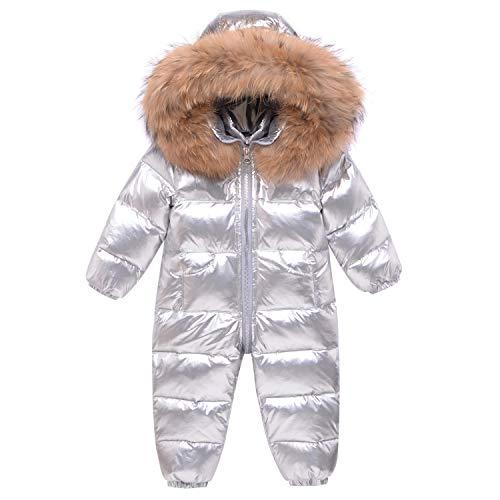 Baby Einteiliger Schneeanzug mit Kapuze Overall Mit Kapuze Daunen-Skianzug Strampler Mädchen Jungen Winter Silber Outfits Daunenjacke für 12-24 Monate