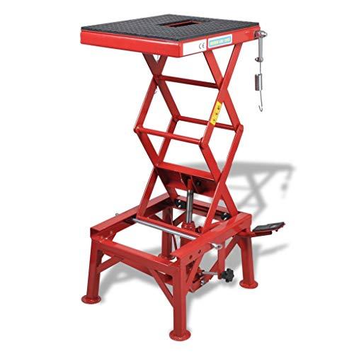 Elevador de Motocicleta Rojo 135 kg con Pedal, Barra de Bloqueo, Válvula de Descarga