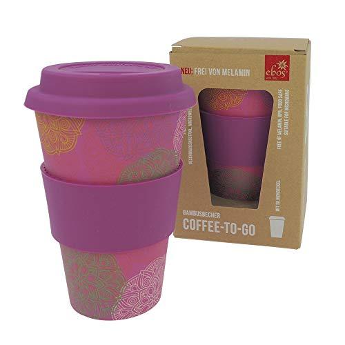 ebos Taza de café para llevar de bambú – sin melamina | Vaso reutilizable de materiales naturales | Apto para lavavajillas y microondas | Mandala Spirit