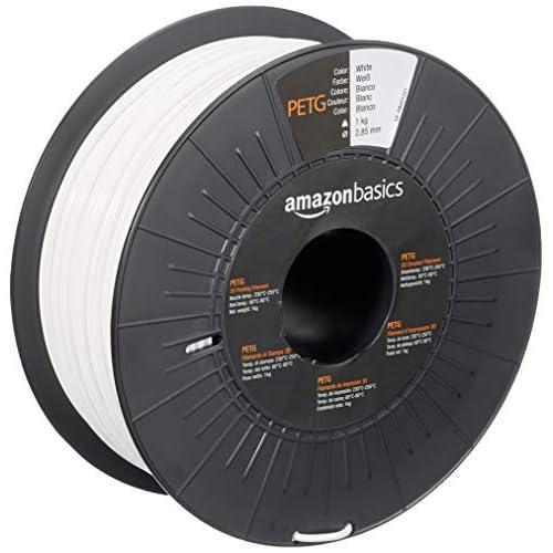 AmazonBasics - Filamento per stampanti 3D, in PETG, 2.85 mm, bianco, 1 kg per bobina