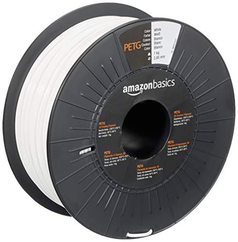 Amazon Basics PETG 3D Printer Filament, 2.85mm, White, 1 kg Spool