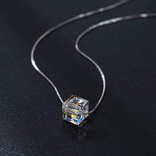 HHWW Schmuck Kristall Aurora Würfel Zucker Halskette Schlüsselbein Kette
