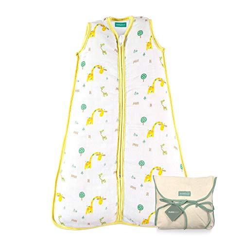 molis&co. Ganzjahres Baby-Schlafsack. 18 bis 36 Monate. 2.5 TOG Superweich und warm. Unisex-Safari-Giraffendruck in Gelb- und Grüntönen. Premium-Musselin mit Futter.