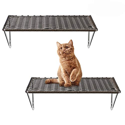 Purife Cat Shelves and Perches for Wall Mounted (Set of 2) - Handcrafted Cat Wall Climbing Shelves, Foldable Cat Bed Cat Wall Furniture, Strong Cat Wall Hammock Cat Wall Steps