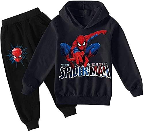 ZKDT Super-héros Spiderman Sweat à capuche 2 pièces pour garçon et fille, 7, 10 ans