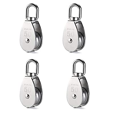Rocaris 4 Pack M50 Lifting Single Pulley Roller Loading 880Ibs, 304 Stainless Steel Heavy Duty Single Wheel Swivel Lifting Rope Pulley Block