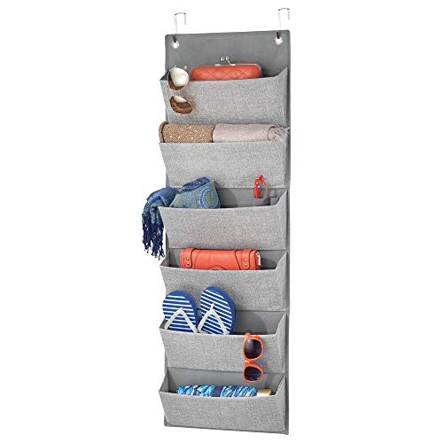 mDesign Soft Fabric Over The Door Hanging Storage Organizer with 6 Large Pockets for Closets in Bedrooms Hallway Entryway Mudroom - Textured Print - Hooks Included - Gray