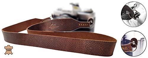 Echt Leder Kameragurt Schultergurt - DUNKEL BRAUN - für DSLR SLR und Kompakt-Kamera - Leder-Gurt breit Vintage Kameraband Tragegurt Trageriemen - passend für Canon Nikon Sony - MIND CARE ESSENTIALS