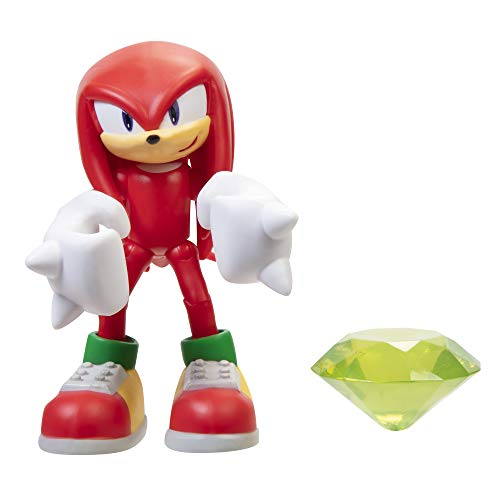 Sonic The Hedgehog 4' Modern Knuckles Action Figure with Green Chaos Emerald Accessory