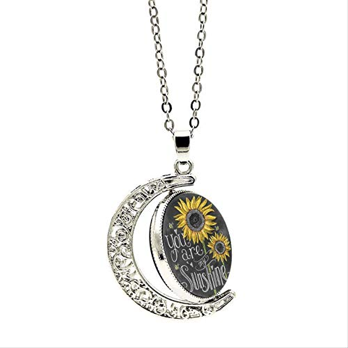 Classic You are My Sunshine Necklace Moon Dome Sunflower Pattern Pendant Necklace Women Men Double Side Rotation Jewelry