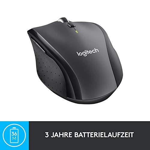 Logitech M705 Marathon Kabellose Maus, Umweltfreundliche-Verpackung, 2.4 GHz Verbindung via Unifying USB-Empfänger, 1000 DPI Laser-Sensor, 3-Jahre Akkulaufzeit, 7 Tasten, PC/Mac – Grau - 5