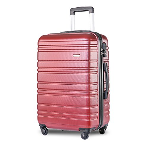 Merax Lightweight Hard Shell 4 Wheels Travel Trolley Suitcase Luggage Set Holdall Cabin Case (24 inches, Red)