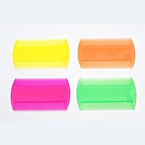 Neon Colour Durable Double Sided Nit Combs for Head Lice Dectection Comb (also ideal for Pet Flea) its removes Nits, Lice and Fleas and eggs i.e. Grooming Hair Comb Fine Toothed Headlice Comb **Only One Supply**