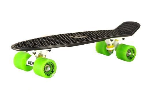 Ridge Mini Cruiser Skate Skateboard retro 22' completo con carrelli nero o bianco, fatto in l'UE, cuscinetti ABEC 7, alta qualità formula segreta di plastica
