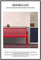 KYASDP シティストリートラウンジチェアショッピングカートキャンバス絵画ポスター写真ウォールアートリビングルーム家の装飾-50X70Cmフレームなし