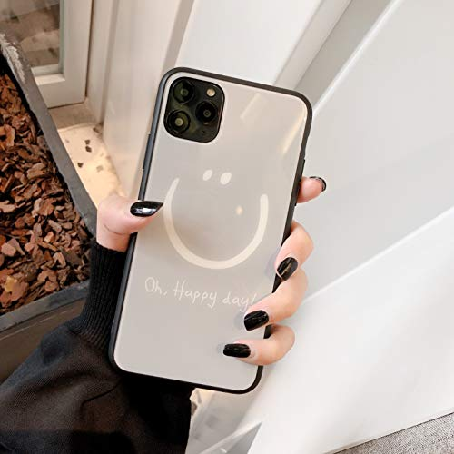 """iPhone 11 Pro Max Phone Glass Hard Back Case, Protection, Shock Proof, Light Gray, Lightweight, """"Oh Happy Day"""" Smile face Designed-Feature, Fashion Design"""