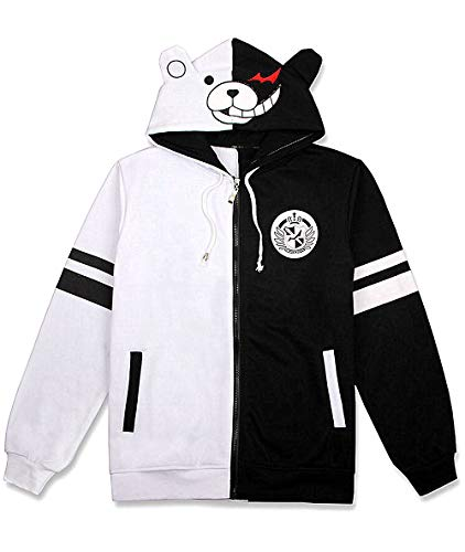 TIMSOPHIA Monokuma Jacke Hoodie Anime Pullover Schwarz Weiß Bär Kapuzen Sweatshirt Manga Cosplay Unisex (XXL)