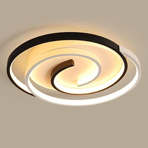 Ring Deckenleuchte Design LED Modern Rund Deckenlampe Dimmbar mit Fernbedienung Pendelleuchte Aluminium Schlafzimmer Leuchte Acryl-schirm hohe Helligkeit Wohnzimmer Esszimmer Küche lampe schwarz+Weiß