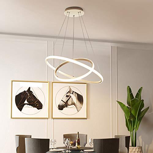 ERWEY LED Pendelleuchte Warmweiß Deckenleuchte Höhenverstellbar Wohnzimmer Designleuchte Deckenlampe Schlafzimmer Modern Kronleuchter Hängelampe Ring (2 Ringe, Weiß-Warmweiß)