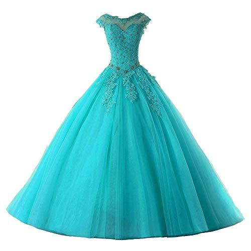 Ballkleider Lang Prinzessin Quinceanera Kleider Tülle Brautkleid Abendkleider A-Linie Partykleid Festkleider Jade 42